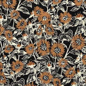 """Bronze-White Sunflowers (black) 9"""""""