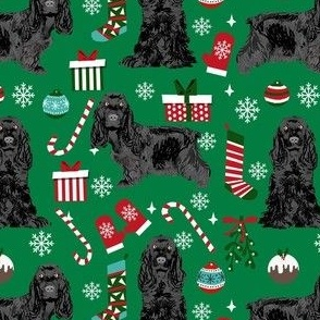 cocker spaniel christmas fabric - black cocker spaniel fabric, dog fabric, christmas dog fabric  - green