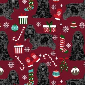 cocker spaniel christmas fabric - black cocker spaniel fabric, dog fabric, christmas dog fabric  - ruby