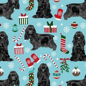 cocker spaniel christmas fabric - cocker spaniel fabric, dog fabric, christmas dog fabric  - blue