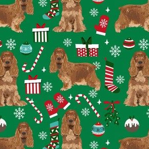 cocker spaniel christmas fabric - cocker spaniel fabric, dog fabric, christmas dog fabric  - bright green