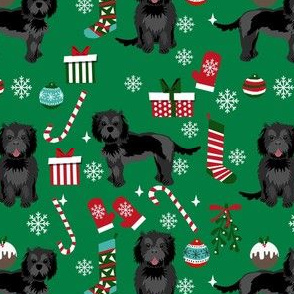 cockapoo christmas fabric - black cockapoo fabric, dog fabric, christmas dog fabric - bright green