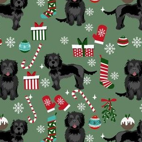 cockapoo christmas fabric - black cockapoo fabric, dog fabric, christmas dog fabric - green