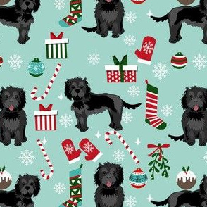 cockapoo christmas fabric - black cockapoo fabric, dog fabric, christmas dog fabric - blue