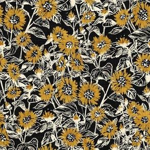 """Golden-White Sunflowers (black) 8"""""""