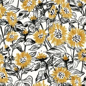 """Golden-Black Sunflowers (white) 12"""""""