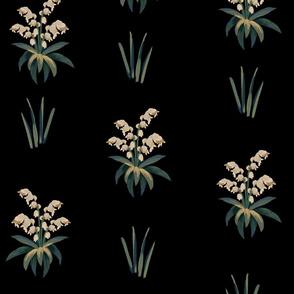 Summer floral pattern in medieval tapestries style on black