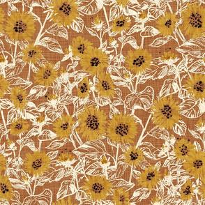 "Golden-White Sunflowers (bronze) 18"""
