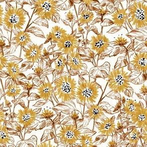 "Golden-Bronze Sunflowers (white ) 8"""