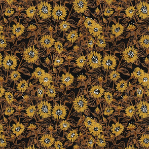 "Golden-Bronze Sunflowers (black) 12"""