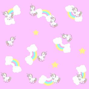 Unicorn,rainbow pattern ,pink background.