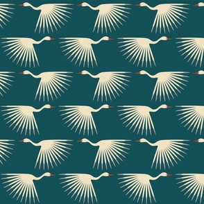 "Art Deco Cranes - Teal - Medium Scale ( Wallpaper 12"" tile - 10""wingspan)"