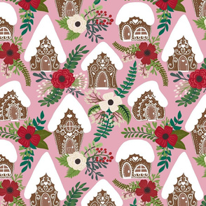 Gingerbread Houses and Christmas Florals  - Pink Background