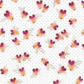 """Vintage Wild Pink Pansies (white) 8"""""""