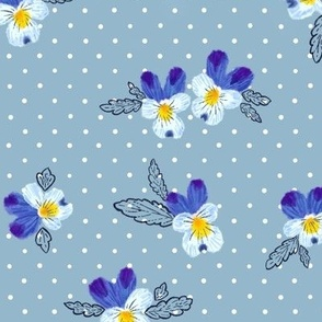 Vintage Wild Blue Pansies (dusty blue) 18""