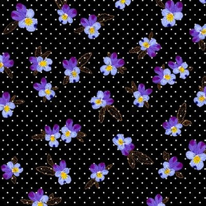 Vintage Wild Pansies (black) 9""