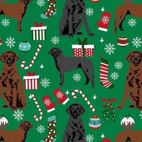 curly coated retriever christmas dog fabric - christmas fabric, dog christmas, -green