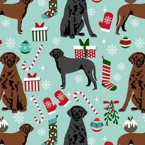 curly coated retriever christmas dog fabric - christmas fabric, dog christmas, - blue