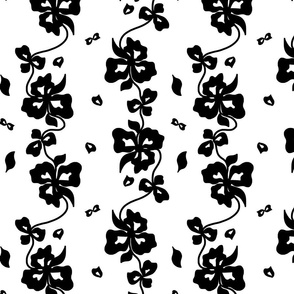 Haute Couture Hawaiian Garlands - Black on White