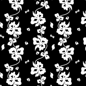 Haute Couture Hawaiian Garlands - White on Black