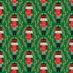 nutcracker prince fabric - nutcracker fabric, christmas fabric, holiday fabric, xmas fabric - green