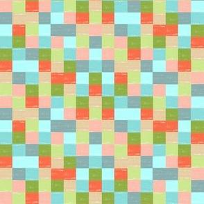 "Brushstroke Mosaic  1/2"" blocks /Small /  Blue Green Nude Coral"