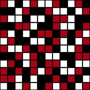 Jumbo Mosaic Squares in Black, Dark Red, and White