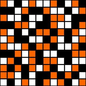 Jumbo Mosaic Squares in Black, Orange, and White