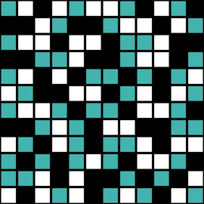 Jumbo Mosaic Squares in Black, Verdigris, and White