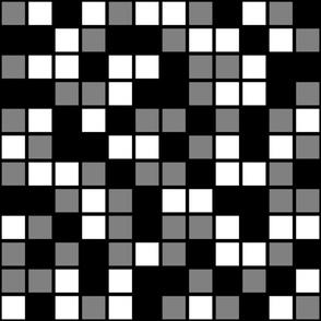 Jumbo Mosaic Squares in Black, Medium Gray, and White