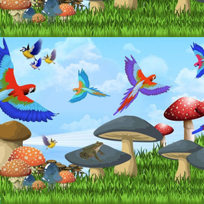 Mushroom Land with Birds