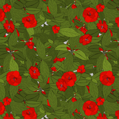 Camellia red on grey