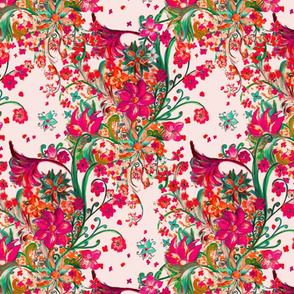 painted floral tropical allover pattern SF
