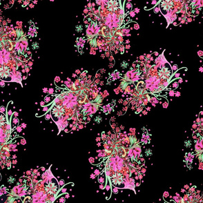 painted floral black tropical neon SF