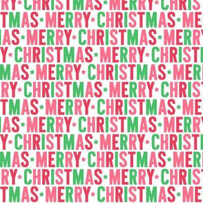 merry christmas 80% scale // green + pink + red // uppercase