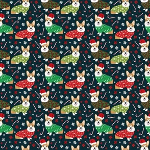 SMALL - corgi holiday sweaters fabric xmas holiday fabric cute christmas corgis fabric cute corgi design