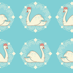 Vintage Cameo Swans with Water Lilies seamless pattern background.