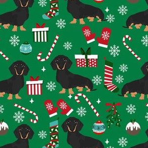 dachshund dog christmas fabric - dachshund fabric, christmas dog fabric, holiday fabric - black and tan dachshund - green