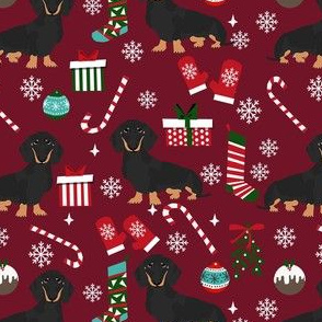 dachshund dog christmas fabric - dachshund fabric, christmas dog fabric, holiday fabric - black and tan dachshund -  ruby