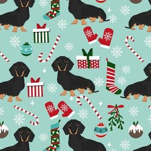 dachshund dog christmas fabric - dachshund fabric, christmas dog fabric, holiday fabric - black and tan dachshund - blue
