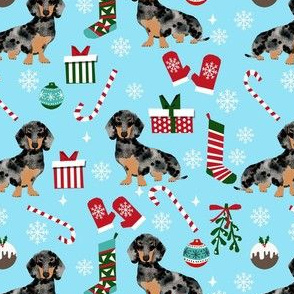 dachshund dog christmas fabric - dachshund fabric, christmas dog fabric, holiday fabric - dapple dachshund -blue