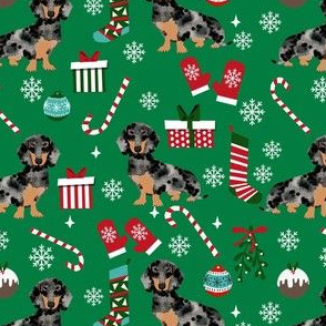 dachshund dog christmas fabric - dachshund fabric, christmas dog fabric, holiday fabric - dapple dachshund - green