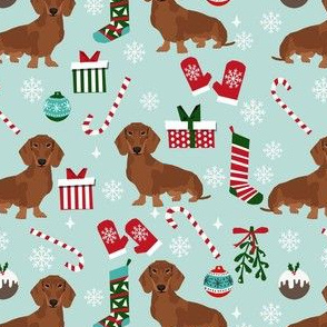 dachshund dog christmas fabric - dachshund fabric, christmas dog fabric, holiday fabric - red dachshund - blue