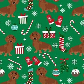 dachshund dog christmas fabric - dachshund fabric, christmas dog fabric, holiday fabric - red dachshund - green