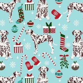 liver dalmatian dog christmas fabric, christmas dog fabric, liver dalmatian, liver dalmatian fabric - light blue