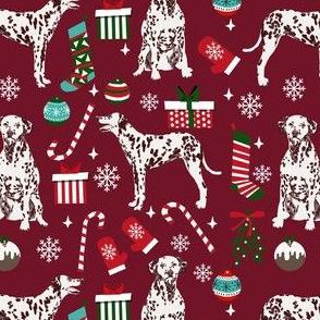 liver dalmatian dog christmas fabric, christmas dog fabric, liver dalmatian, liver dalmatian fabric - ruby