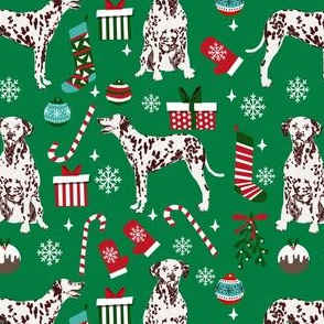 liver dalmatian dog christmas fabric, christmas dog fabric, liver dalmatian, liver dalmatian fabric - green