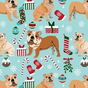 bulldog christmas fabric - dog fabric, christmas fabric, english bulldog, english bulldog fabric - light blue