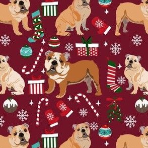 bulldog christmas fabric - dog fabric, christmas fabric, english bulldog, english bulldog fabric -ruby
