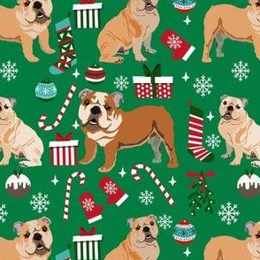 bulldog christmas fabric - dog fabric, christmas fabric, english bulldog, english bulldog fabric - green